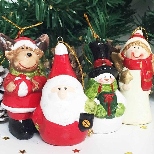 Small ceramic Christmas tree decorations choice of 4