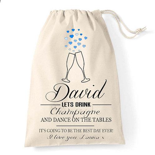 Champagne glasses Groom wedding gift bag