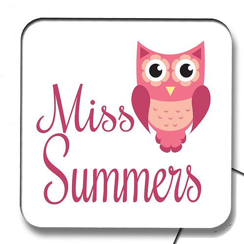 Pink Owl Teacher Coaster Gift