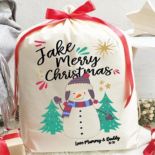 Snowman Santa Sack with ribbon and Hot Chocolate