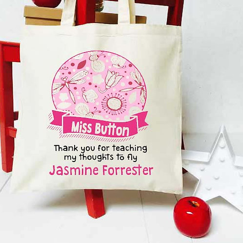 Personalised Dragonfly + Banner teacher tote bag
