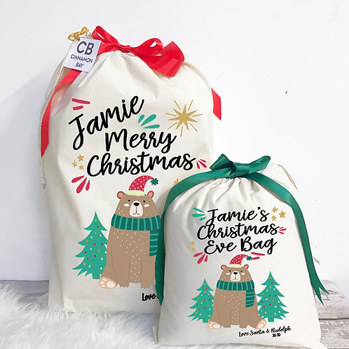 Bear Christmas Eve Bag and Sack