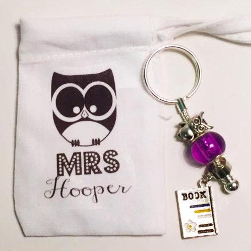 Personalised teacher key chain bag charm owl
