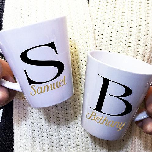 Personalised Initial Latte Mugs Wedding / Valentines Gift