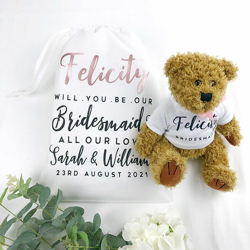 Will You Be Our Bridesmaid? Teddy Bear & Bag