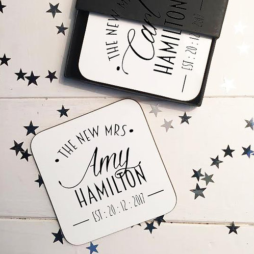 New Mr and Mrs coaster set New York Style