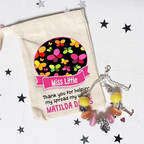Teacher Butterfly Charm Bracelet + Bag