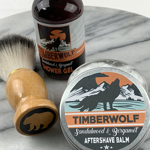 Timberwolf 3pc Set, Aftershave Balm, Shaving Brush and Shower Gel