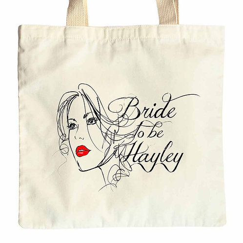 Bride To Be face design tote gift bag
