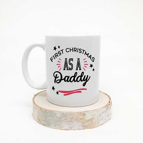 First Christmasas a family ceramic mug, daddy, mummy, nanny and grandad.