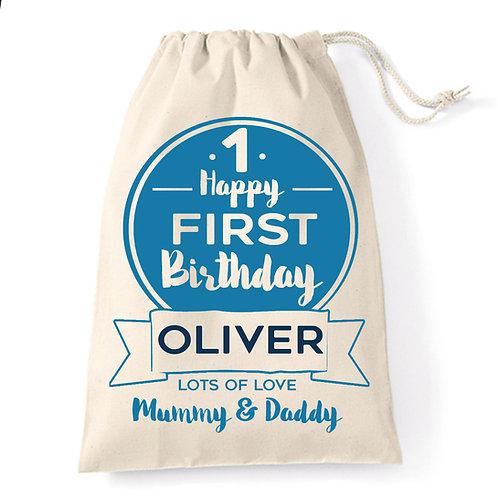 Birthday boy cotton gift bag.