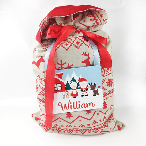 Personalised Santa Sack, with personalised tag placemat.