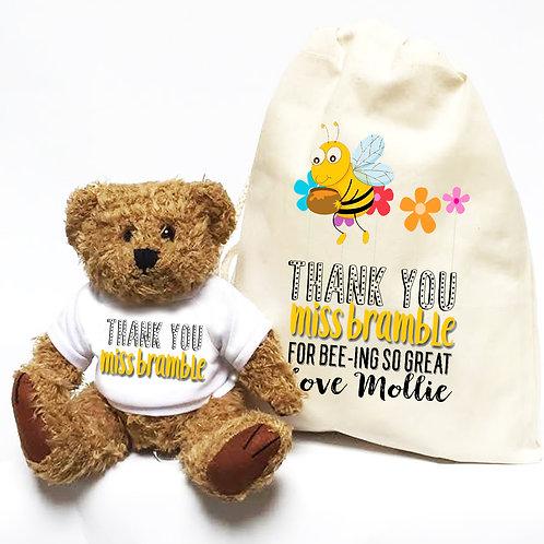 Bumblebee Teacher Teddy Bear & Bag