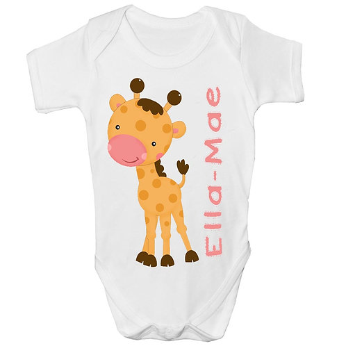 Cute Personalised Giraffe Baby Grow