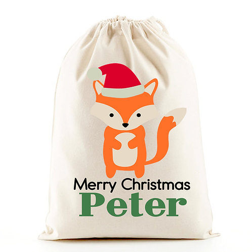 Christmas gift  bag with cute little fox.