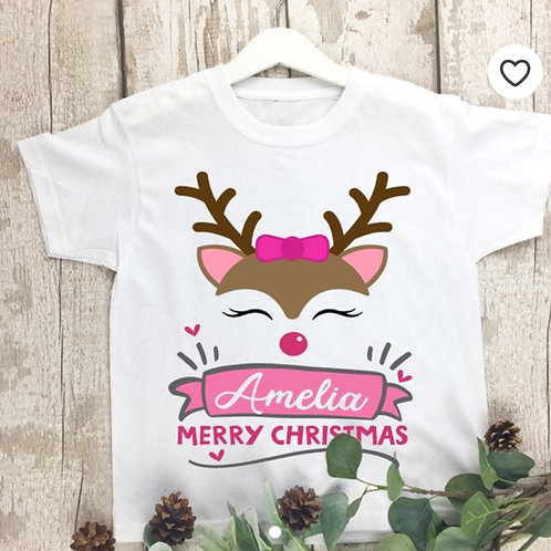 Christmas t shirt, personalised cute pink reindeer design