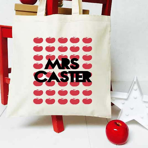 Personalised Retro Apples teacher tote bag