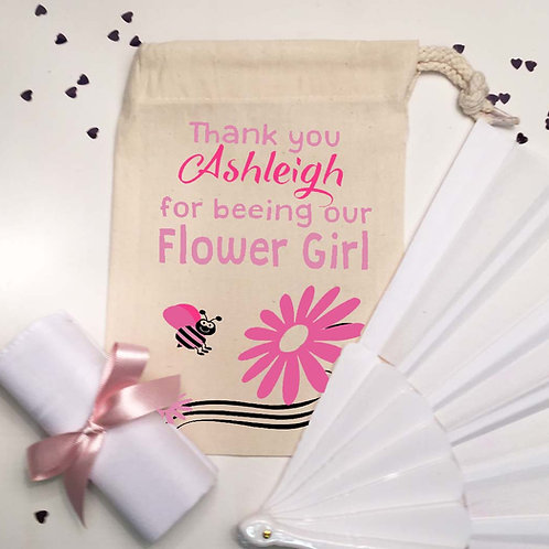 Flower Girl Pre filled bag fan and hanky
