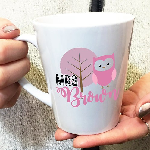 Personalised Pink Owl Teacher Thank you Latte Mug