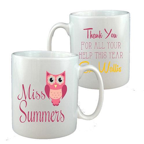Pink Owl Ceramic Mug
