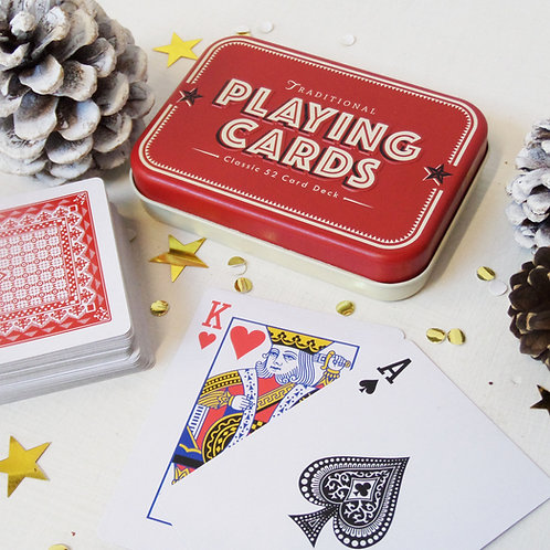 Retro metal tin of PLAYING CARDS great family fun