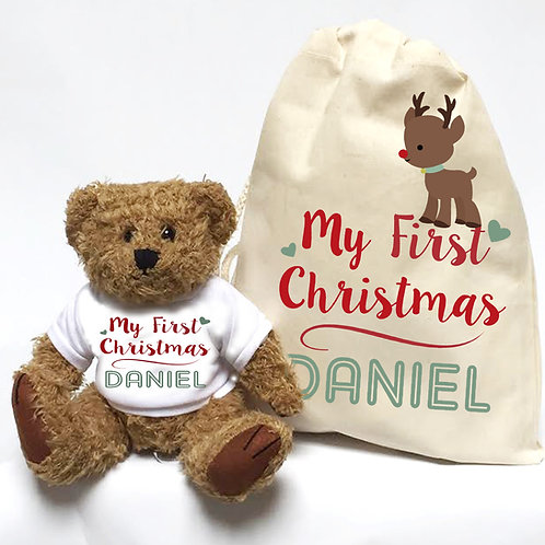 Babies First Christmas teddy bear with gift bag.