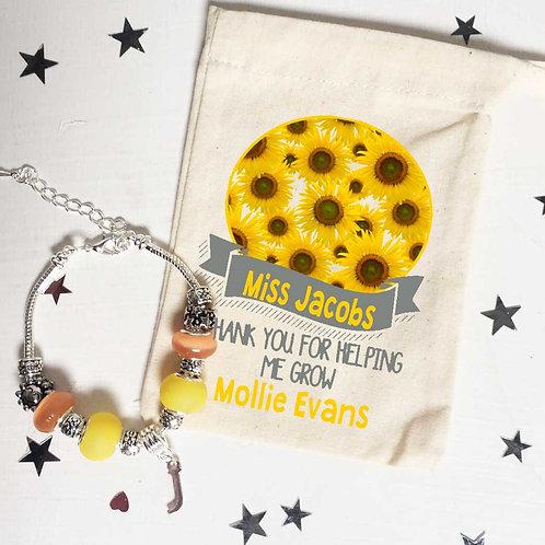 Teacher Sunflower Charm Bracelet + Bag