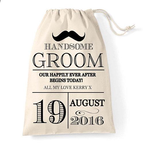 Vintage Typography moustache Groom gift bag