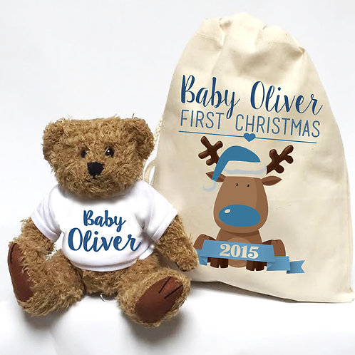 Teddy bear christmas gift for little boy.