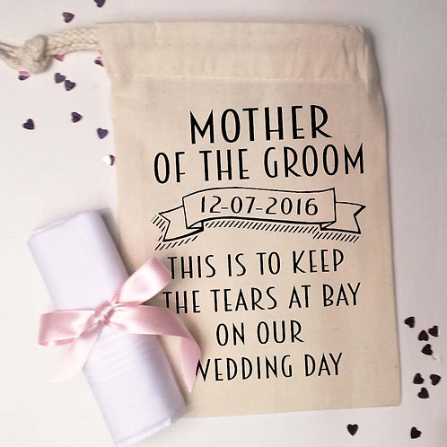 Mother of the Groom Gift bag and Handkerchief.