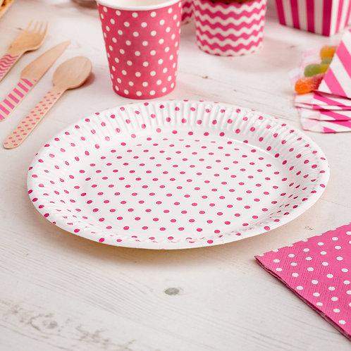 Pink polka dot paper plates.