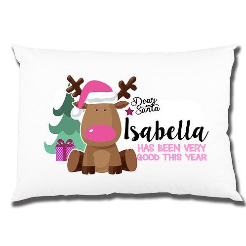 Pink Reindeer personalised pillowcase