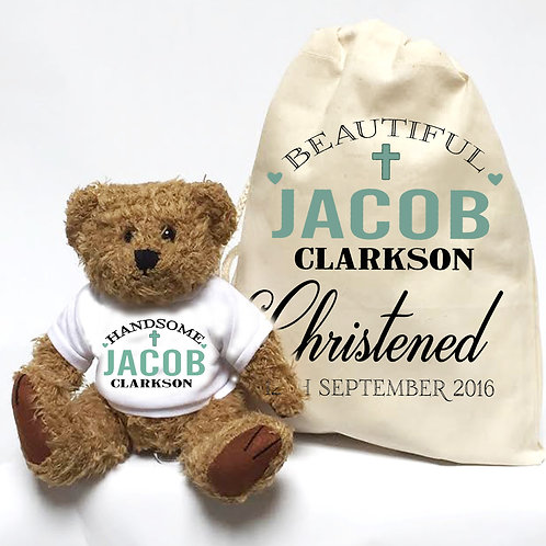 Christening gift teddy bear for baby boy.