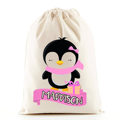 Girl penguin santa sack Christmas stocking bag.