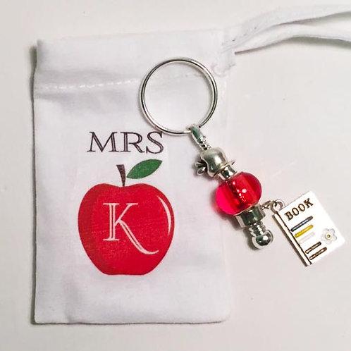 Personalised teacher key chain bag charm apple