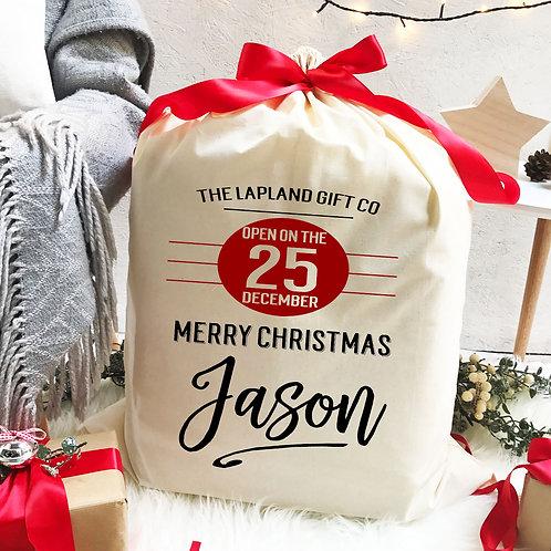 Personalised Cotton Christmas Sack | Lapland Gift Co