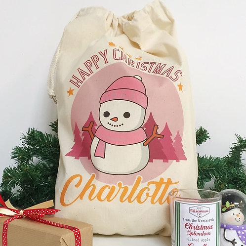 "Personalised Christmas gift bag "" PINK SNOWMAN """