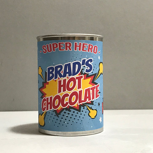 Superhero hot chocolate in a ring pull tin