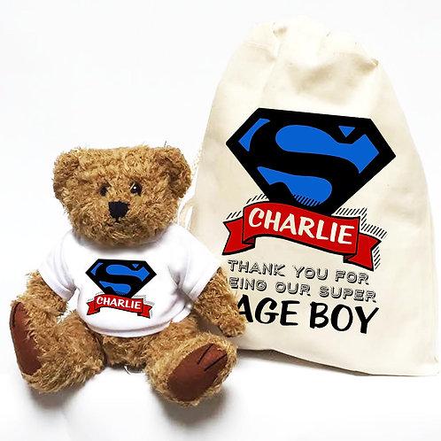 Personalised Superhero Page Boy Bear