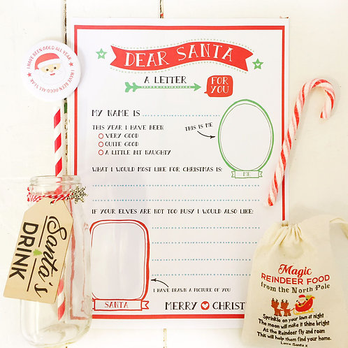 Santa Letter gift set with bottle