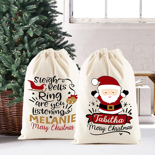 Christmas Santa Sack, Santa Claus OR Sleigh bells design.