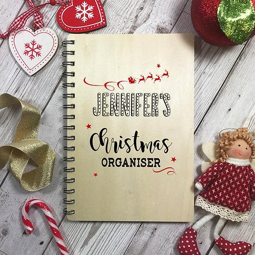 Personalised Wooden Christmas Organiser Notebook