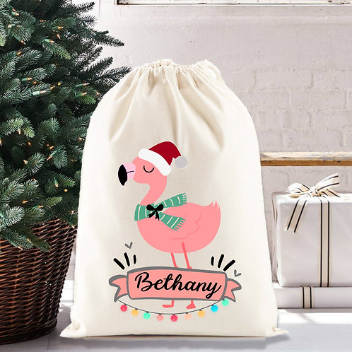 Pink Flamingo Christmas santa sack, personalised gift bag, nursery decor.