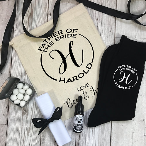 Father of the Bride Monogram Socks and Gift Set