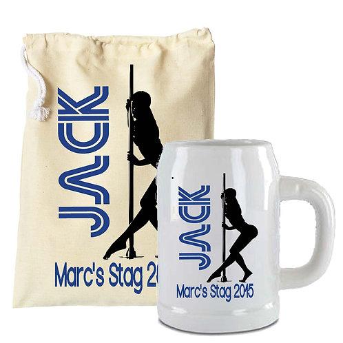 Stag Party Beer Stein Pole Dancer Design