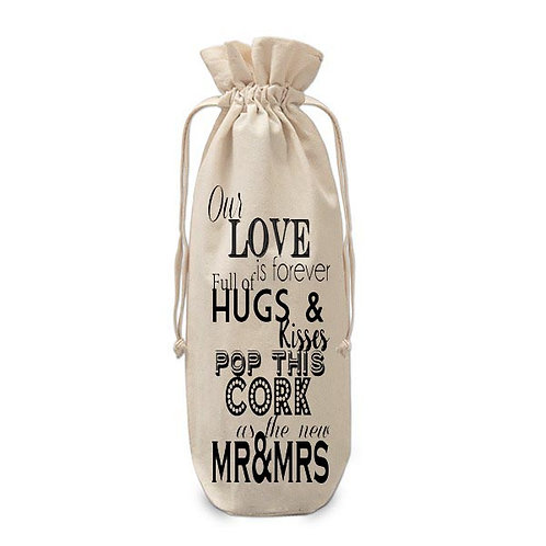 Hugs and Kisses New Mr & Mrs Wine Bag