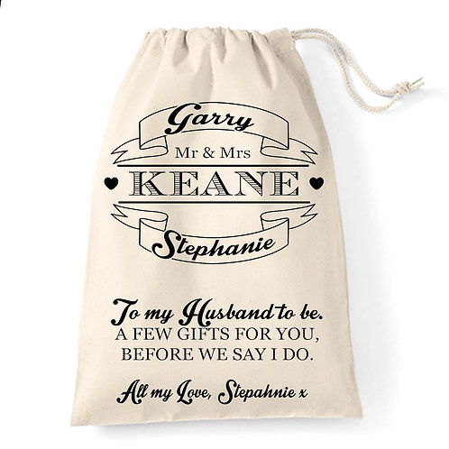 Wedding banner gift bag for the Groom