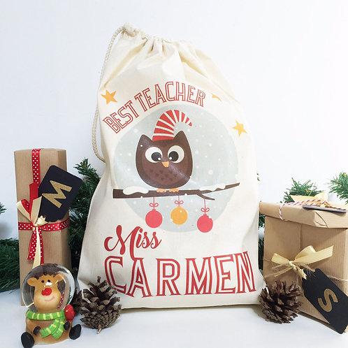 "Personalised Christmas gift bag "" BEST TEACHER OWL """