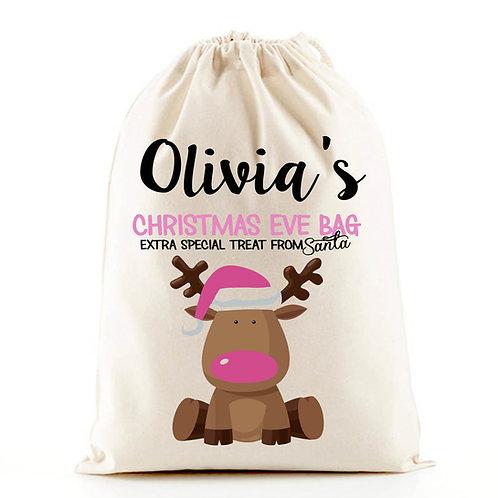 Pink girl Christmas Eve gift bag.
