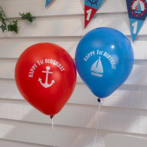 1st Birthday boy party balloons.